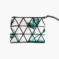 FLORAL TRIANGLES/ fabric money wallet with hand printed triangle print on floral fabric