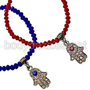 Dangling Hemsa and Evil Eye Center Red or Blue Stretch Bracelet One Size Fits Most