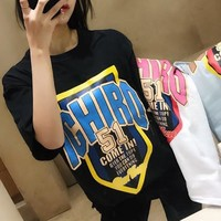 Women Casual Personality Letter Pattern Print Short Sleeve Oversize Loose T-shirt Top Tee