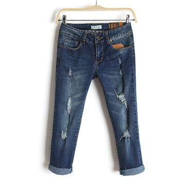 Summer Slim Stretch Jeans Rinsed Denim Ripped Holes Denim Capri [4920635460]
