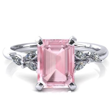 Sigrid Emerald Pink Sapphire 4 Prong Marquise Diamond Side Ring