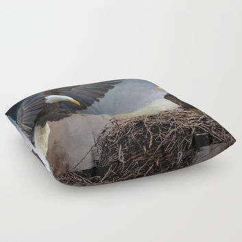 Eagles Nest Floor Pillow by Theresa Campbell D'August Art