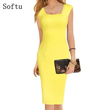 Softu Women Summer Style Dress Sexy Knee Length Short Sleeve Bodycon Slim Pencil Dresses Sheath Solid Office Dress