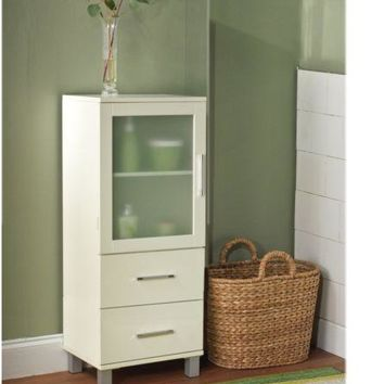 Linen Bathroom Cabinet Storage Organizer Towel Bath Tower Floor White Furniture