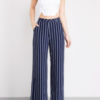 STRIPING HOT WIDE LEG PANTS (Navy/White)