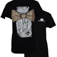 Southern Couture New Orleans Saints Who Dat Mason Jar Bow Fleur De Lis Girlie Bright T Shirt