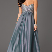 Strapless Sweetheart Floor Length Dress with Jewel Detailing