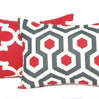 Decorative Throw Pillow Cover One All Sizes Red Pillows Honeycomb Pattern Ruby Red and Charcoal Gray Home Decor