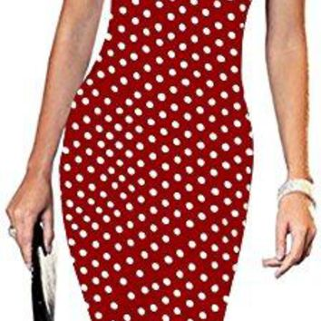 LunaJany Womens Casual Striped Print Wear to Work Office Career Sheath Dress