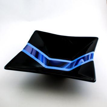 Black and Blue Fused Glass Bowl, Serving Dish, Square Design, Large Glass Bowl, Fruit Storage, Salad Server, Kitchen Decor, Wedding Gift