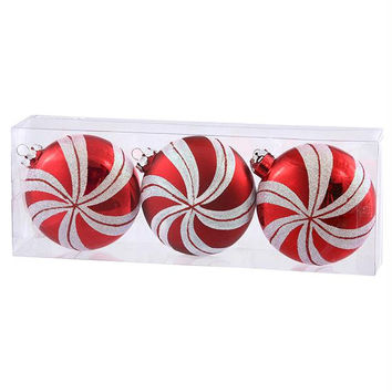 3 Christmas Ornaments - Red Swirl Disk