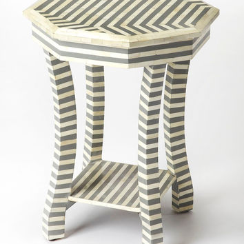 Gabin Transitional Octagonal Bone Inlay Accent Table Gray