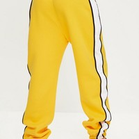 Missguided - Yellow Oversized White Binding Tracksuit Joggers