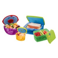 Fit & Fresh Kids' Healthy Lunch Reusable Container Kit with Ice Packs, Multicolored 13 Piece Set, BPA-Free