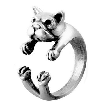 Vintage Bulldog Dog Ring Men Womens Silver Adjustable Ring + Gift Box