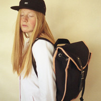 Black & Salmon Heap Line Backpack - Handcrafted street style backpack - Vintage inspired retro bag