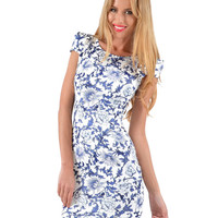 Blue Short Sleeve Floral Print Cut-Out Bodycon Mini Dress