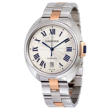 Cartier Cle Silver Dial Stainless Steel 18K Rose Gold Automatic Mens Watch