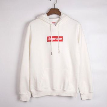 Supreme Casual Embroidered Hooded Solid Color Sweater