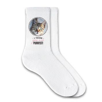 I Think You Are Purrfect - Custom Printed Pet Photo Socks - 1/2 Cushion Crew Socks