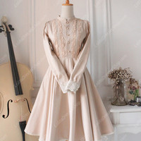 Downton Abbey Classic Lace champagne color Long Lolita Dress