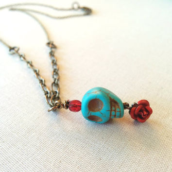 Skull Necklace, Halloween Jewelry, Turquoise Skull, Stone Skull, Red Rose, Day of the Dead, Handmade