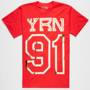Yrn Offset Mens T-Shirt Red  In Sizes