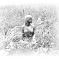 Virginia Fine Art Print, Winter Maid, Surreal Black and White Photography, 4x6 Print in 5x7 Mat
