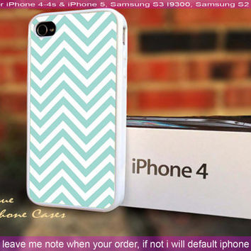 Tiffany blue chevron - iPhone 4 / iPhone 4S / iPhone 5 / Samsung S2 / Samsung S3 / Samsung S4 Case Cover