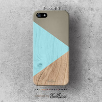 Blue and Gray geometric wood, 3D-sublimated,Mobile accesories, Unique iPhone 4 case, iPhone 4S case, iPhone 5 case.
