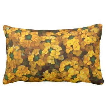 Orange Wallflower Floral Photo Lumbar Throw Pillow