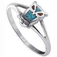 925 Sterling Silver Turquoise and Coral Southwestern Style Owl Ring