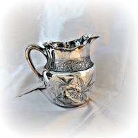 Victorian Silverplate Pitcher Mead Robbins Floral Engraving Ca 1860