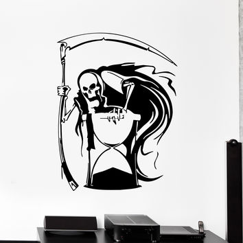Vinyl Wall Decal Grim Reaper Death Hourglass Horror Stickers Murals Unique Gift (ig758)