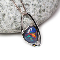 Rainbow Opal Necklace - Genuine Opal Jewellery, Rare Gemstone Necklace, Natural Opal Pendant, Jewelry Gift for Her No.2
