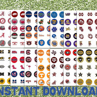 """SAVE 35% - Complete Set NCAA Football Division 1a - SEC - 14 Teams - Printable Bottlecap Images - Instant Download 1"""" circles"""