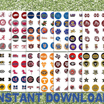"SAVE 35% - Complete Set NCAA Football Division 1a - SEC - 14 Teams - Printable Bottlecap Images - Instant Download 1"" circles"