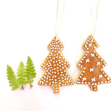 2 Christmas Ornaments,  Ginger Christmas Tree,  Traditional Christmas Gift,  Tree Pottery Gift,  Holiday Home Decor, Country Christmas