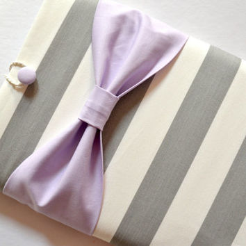 Macbook Pro 13 / Macbook Air Case , Laptop Sleeve - Grey and White Stripe with Lavender Bow