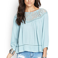 FOREVER 21 Floral Lace Peasant Top Dusty Blue