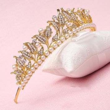 Cosplay Princess Queen Rhinestone Crystal Pearl Tiara Crown Wedding