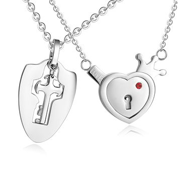 His & Hers Matching Set Your Key to My Heart Couple Pendant Necklace Key and Lock Style in a Gift Box