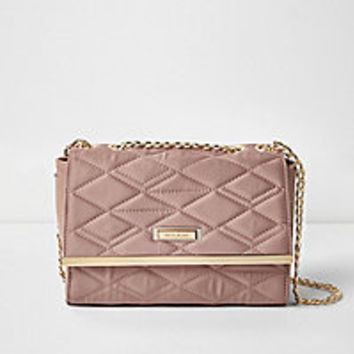 Pink quilted shoulder bag