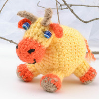 Handmade Soft doll Crochet baby toys Kids toys rag doll Children s gift idea Cow