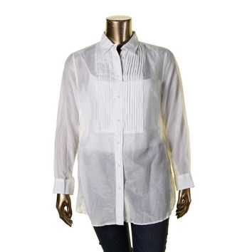 Lauren Ralph Lauren Womens Plus Pintuck Button Front Blouse