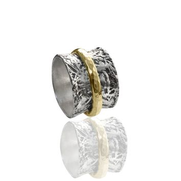 Oxidized Wide Spinner Ring with a Gold Band