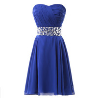 Spring Style Cute Corset High School Royal Blue Short Prom Homecoming dresses for Girls Graduation Dress Stones Crystals 4792