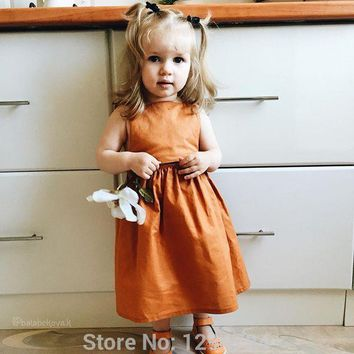 2018 SPRING SUMMER NEW ARRIVAL BABY GIRL CLOTHES GIRLS DRESSES pumpkin color girls DRESSES VETEMENT ENFANT FILLE KIDS INS HOT
