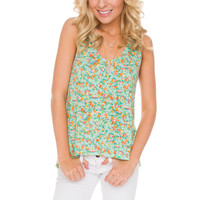 Tiana Floral Top in Mint