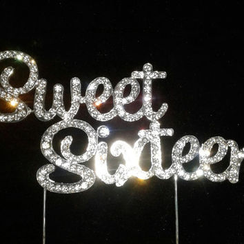 Sweet sixteen cake topper. Bling rhinestone sweet 16 cake topper,cake topper for birthday cake